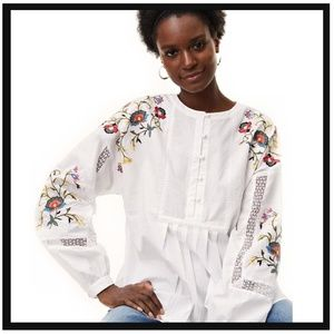 Floral Embroidered & Lace Poet Shirt
